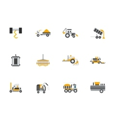 Flat color design farming machines icons vector