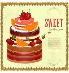 Big Chocolate Fruit Cake vector image