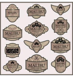 Set of ornate labels vector
