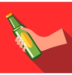 Hand holding a green beer bottle icon flat style vector