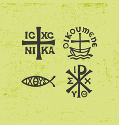 Ancient christian symbols and vintage elements vector