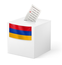 Ballot box with voting paper armenia vector