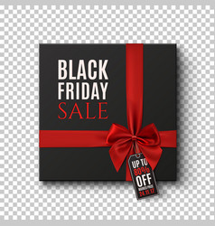 black gift box with red ribbon and price tag on vector image