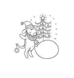 black-white sketch funny cartoon puppy vector image vector image