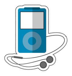 Blue mp3 player headphones vector