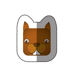 Colorful face sticker of squirrel in square shape vector
