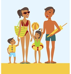 Family on the beach vector