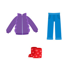 Flat girl kid outfit apparel set vector