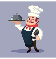 Funny cartoon Chief cook character with delicious vector image