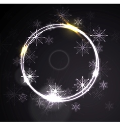 Glowing shiny ring with snowflakes vector image vector image