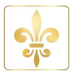 Golden fleur-de-lis heraldic emblem foil 2 vector