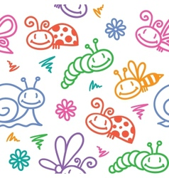 hand drawn pattern with insects vector image vector image
