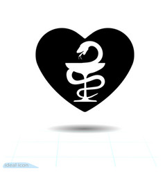 heart black icon bowl of hygeia symbol of vector image