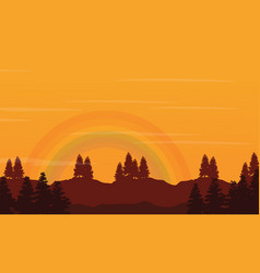 Hill with rainbow beauty landscape silhouettes vector