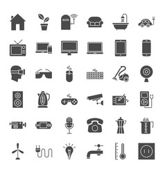 Household appliance solid web icons vector