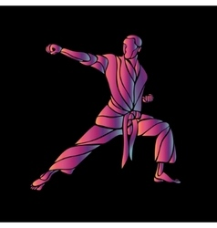 Martial arts abstract silhouette on black vector