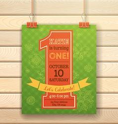 One year birthday invitation card on wood vector