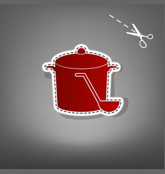Pan with steam sign red icon with for vector