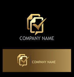 paper note business approve gold logo vector image