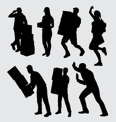 people work silhouette vector image
