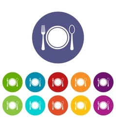 Place setting with platespoon and fork set icons vector