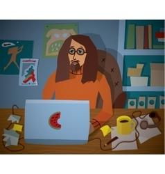 Profession designer work workplace notebook vector image