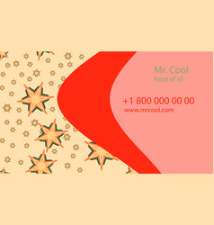 Red yellow creative business card with vector
