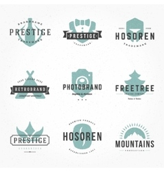 Retro hand drawn logos templates set hand vector