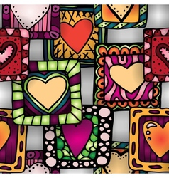Seamless pattern of original doodle hearts in vector image vector image