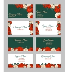Set of four double-sided floral business cards vector image