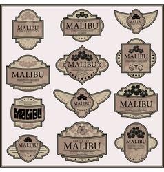 Set of ornate labels vector image