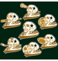 set of vintage sports all star crests with skulls vector image