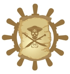 Ship helm and parchment-1 vector image