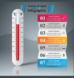 thermometer business infographic five paper vector image vector image