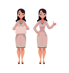 Two woman doctors in medical coats blank board vector