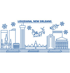 Usa louisiana new orleans winter city skyline vector