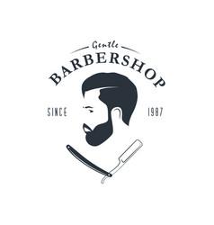 vintage barber shop logo hipster emblem vector image vector image