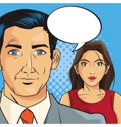 Woman and man pop art comic design vector
