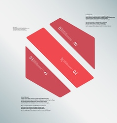 Hexagon template consists of three red parts on vector