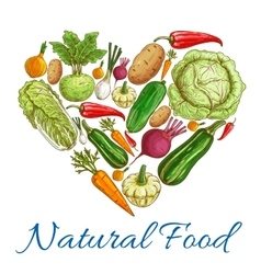 Natural vegetables food in heart symbol vector