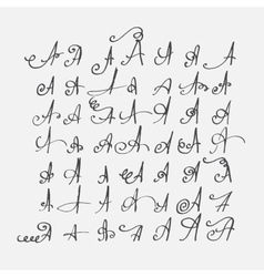 Print set of calligraphic letters a hand vector