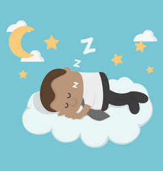 Young african businessman sleeping on a cloud vector
