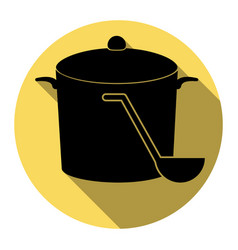 Pan with steam sign  flat black icon with vector