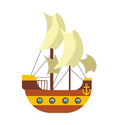 Pirates ship with sail canvas deck and anchor at vector