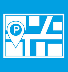 Map with car parking pointer icon white vector