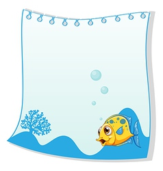An empty paper with a yellow fish at the bottom vector image