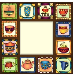 Tea cups and pots frame hand drawn design eps10 vector