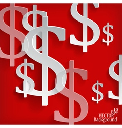 White dollar symbols on red background vector
