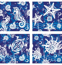 Seampless patterns with sea symbols vector image