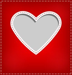 Heart cutout in red card on grey vector